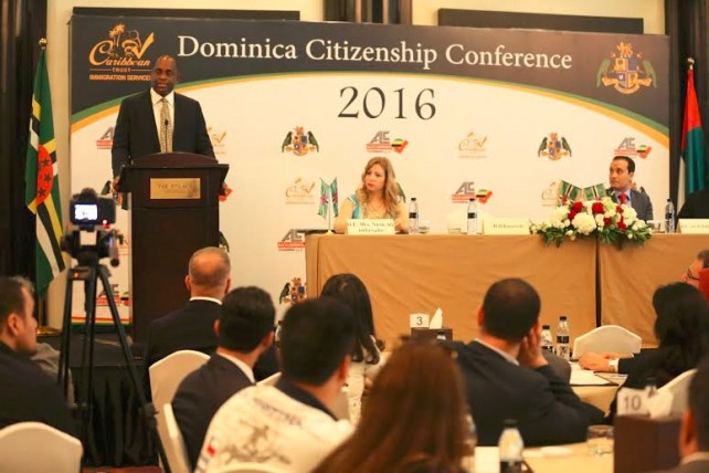 PM Skerrit addressing a Dominica Citizenship Conference in the UAE
