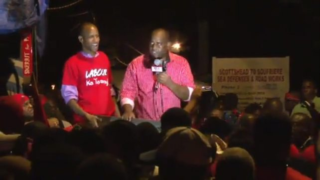 Video screenshot of Skerrit addressing supporters on Tuesday evening