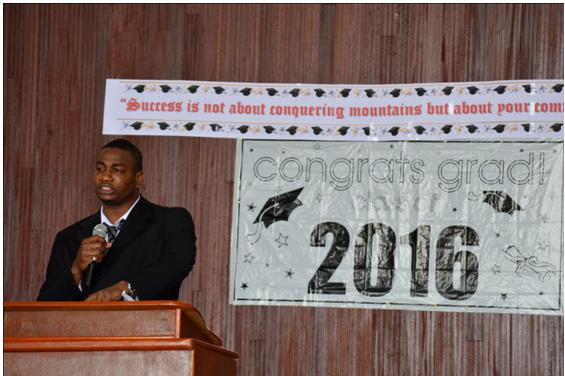 Dr. Kenrick James of Marigot delivering the feature address