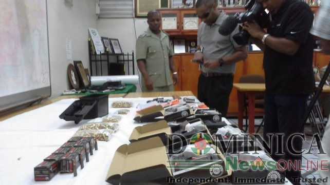 Police show the recovered items to the media on Friday