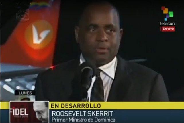PM Skerrit delivering remarks on arrival in Cuba