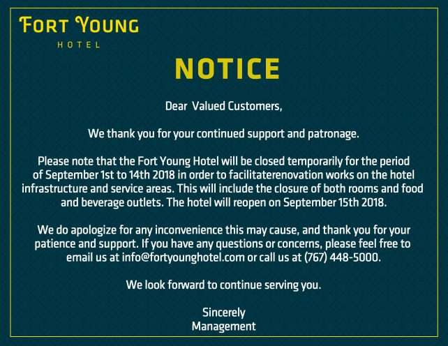 ANNOUNCEMENT: Fort Young Hotel temporary closure notice – Dominica