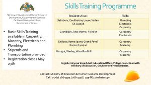 ANNOUNCEMENT: Register for the Ministry of Education Skills Training Programme