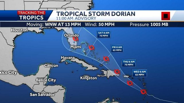 update on tropical storm dorian