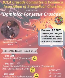 ANNOUNCEMENT: Dominica for Jesus Crusade Dec 20th to Dec 22nd
