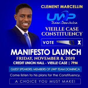 Clement Marcellin, UWP candidate for Vieille Case manifesto release
