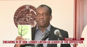 Lennox Linton sworn in as Opposition Leader following 2019 election (with audio)