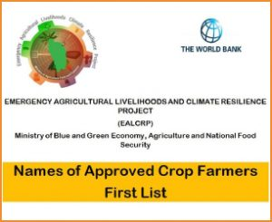 ANNOUNCEMENT: EALCRP Names of Approved Crop Farmers First List