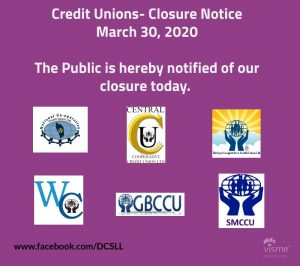 ANNOUNCEMENT: Closure of credit unions