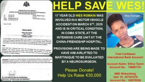 Critically-injured victim of motor vehicle accident requires financial help for overseas treatment