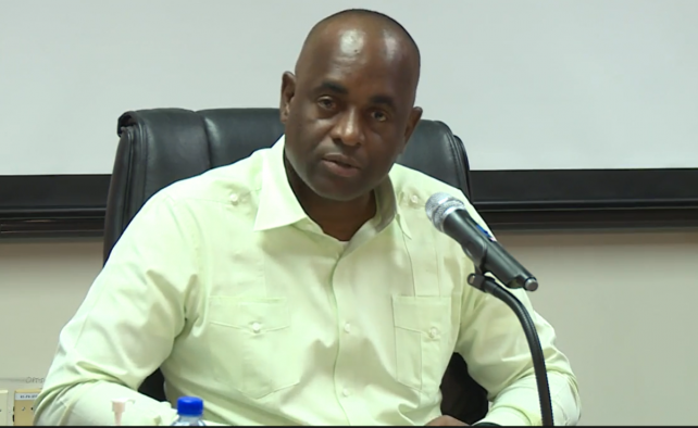 PM Skerrit speaking at a NEPO meeting earlier this year. File