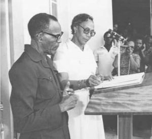 THROWBACK PHOTO: Dame Eugenia being sworn in as Dominica's 3rd prime minister