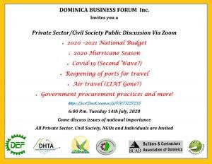 ANNOUNCEMENT: DBF Private Sector/Civil Society Public Discussion via Zoom today