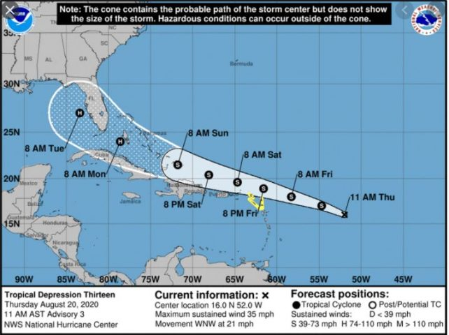 Tropical Depression 13 is now Tropical Storm Laura