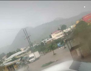Flooding in Portsmouth as shower activity from Tropical storm Laura affects Dominica
