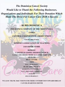 ANNOUNCEMENT: Dominica Cancer Society says thank you