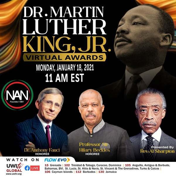 The UWI's Sir Hilary Beckles to receive Martin Luther King Award along with Dr. Anthony Fauci