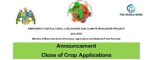 ANNOUNCEMENT: Close of crop applications