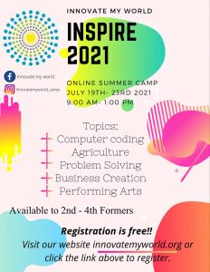 ANNOUNCEMENT: register for FREE Innovate My World online summer camp