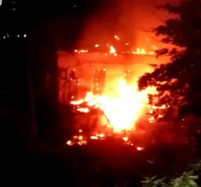 Old Roseau Public Library building burning again