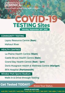 COMBATTING COVID-19: Vaccination and testing sites as of 20th September 2021