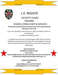 ANNOUNCEMENT: Grand Opening L.E Registe Security Guard Training School Consultant & Services