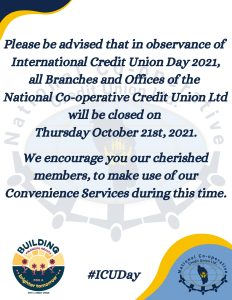 ANNOUNCEMENT: All branches of NCCU to be closed on 21st October 2021